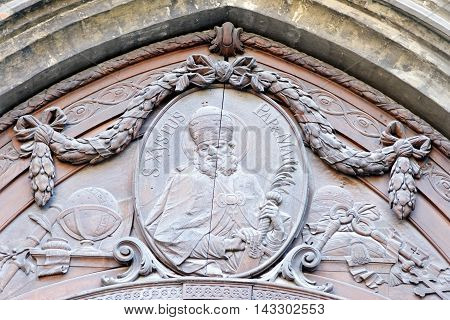 Detail of ornamental fronton at Frauenkirche Munich Germany