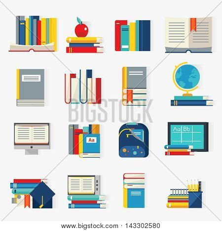 School books decorative icons set with stacks of manuals computer globe backpack academic hat isolated vector illustration