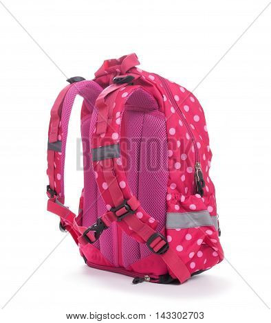 Pink School Backpack With White Dots Isolated On White