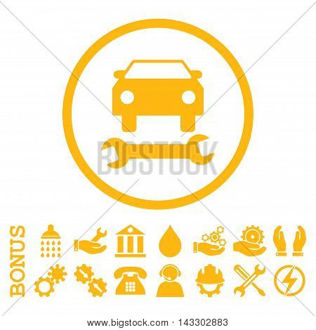 Car Repair glyph icon. Image style is a flat pictogram symbol inside a circle, yellow color, white background. Bonus images are included.