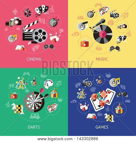 Four square entertainment compositions or icon set with cinema music darts and games descriptions vector illustration