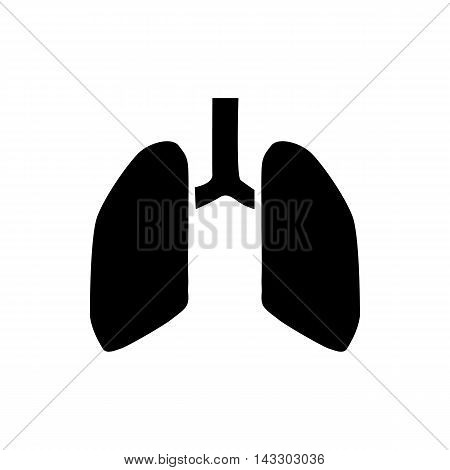 Human lungs icon in simple style on a white background