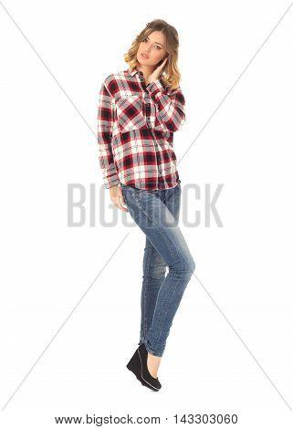 Portrait Of Stylish Model In Blue Jeans