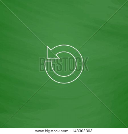 reset Outline vector icon. Imitation draw with white chalk on green chalkboard. Flat Pictogram and School board background. Illustration symbol