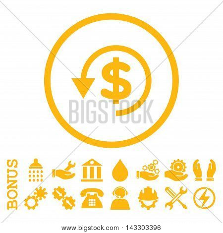 Chargeback glyph icon. Image style is a flat pictogram symbol inside a circle, yellow color, white background. Bonus images are included.
