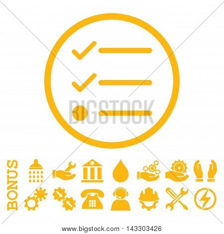 Checklist glyph icon. Image style is a flat pictogram symbol inside a circle, yellow color, white background. Bonus images are included.