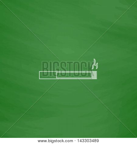 cigarette Outline vector icon. Imitation draw with white chalk on green chalkboard. Flat Pictogram and School board background. Illustration symbol