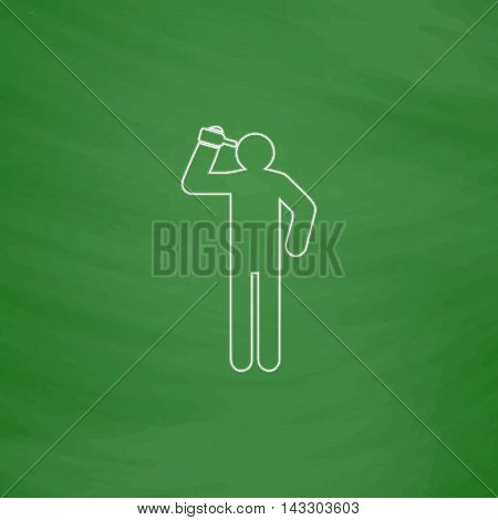 drunkard Outline vector icon. Imitation draw with white chalk on green chalkboard. Flat Pictogram and School board background. Illustration symbol