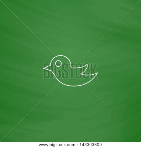 Bird Outline vector icon. Imitation draw with white chalk on green chalkboard. Flat Pictogram and School board background. Illustration symbol
