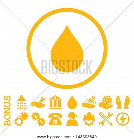 Drop glyph icon. Image style is a flat pictogram symbol inside a circle, yellow color, white background. Bonus images are included.