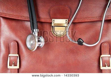 Doctor's brown leather case with the stethoscope