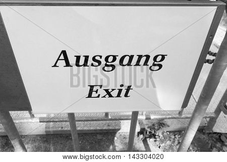 Ausgang Sign Meaning Exit In Black And White