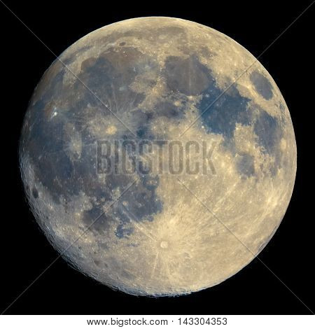 Full Moon Seen With Telescope, Enhanced Colours