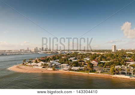Beaches & skyline of the waterfront of Fort Lauderdale Florida USA