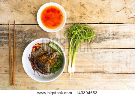 Noodles in Thailand, Beef noodles on wooden table.