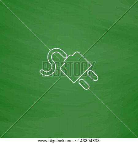 Power cord Outline vector icon. Imitation draw with white chalk on green chalkboard. Flat Pictogram and School board background. Illustration symbol