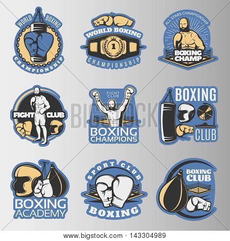 Boxing colored emblems of championships and fight clubs with  sports equipment on grey background isolated vector illustration