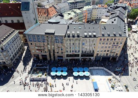 MUNICH GERMANY - AUGUST 3 2015: Aerial view from the New Town Hall of the central square Marienplatz. Munuch is the capital and largest city of the German state of Bavaria.