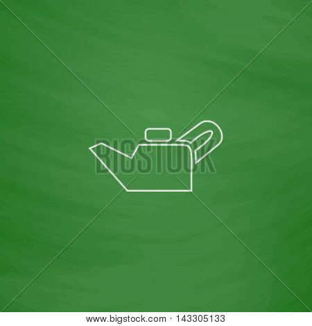 Engine oil Outline vector icon. Imitation draw with white chalk on green chalkboard. Flat Pictogram and School board background. Illustration symbol