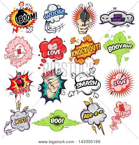 Comic speech bubbles with text and drawn sound effects and emotions signs isolated vector illustration