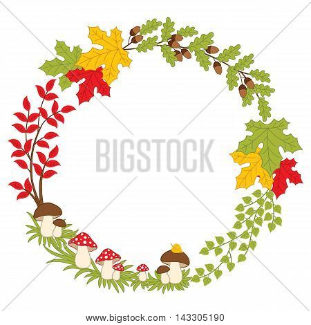Vector autumn forest wreath with mushrooms and leaves