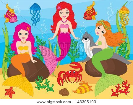 Vector beautiful colorful mermaids with fish, seal, crab and jellyfish