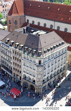 MUNICH GERMANY - AUGUST 3 2015: Aerial view of Deutsche Bank branch on Marienplatz square. A German global banking and financial services company with headquarters in Frankfurt.
