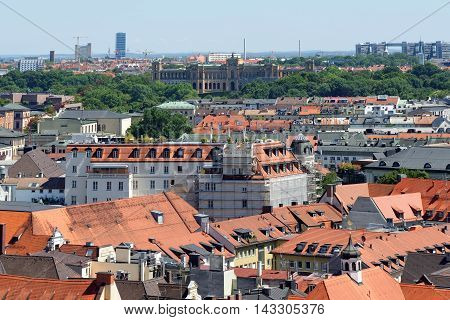 Munich Germany. Aerial view from the New Town Hall with Maximilianeum Building in the distance a palatial building home of a gifted students' foundation.
