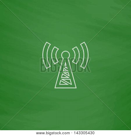 Transmitter Outline vector icon. Imitation draw with white chalk on green chalkboard. Flat Pictogram and School board background. Illustration symbol