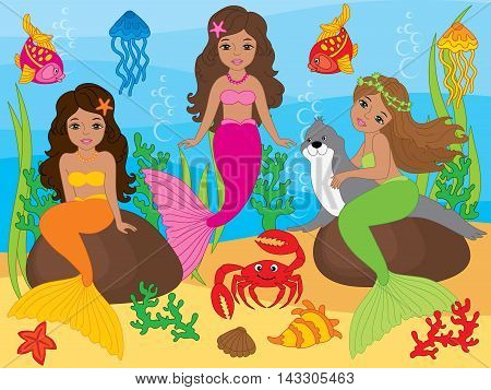 Vector african american beautiful colorful mermaids with fish, seal, crab and jellyfish