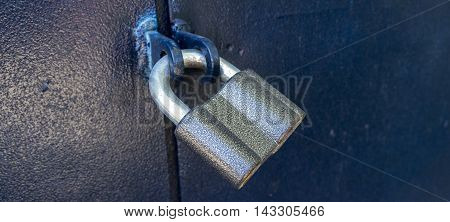 Padlock, new metal padlock on blue background, security, lock, metal, door lock, metal door