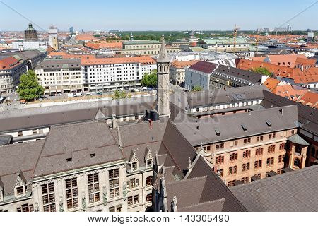 Munich Germany. Aerial view from the New Town Hall.