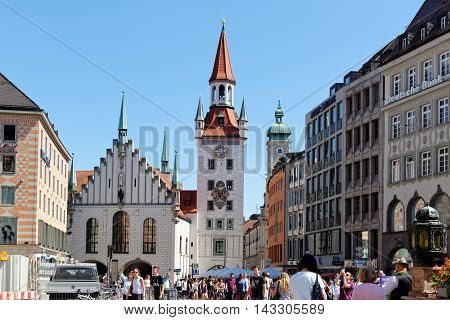 MUNICH GERMANY - AUGUST 3 2015: Marienplatz square with the Old Town Hall.