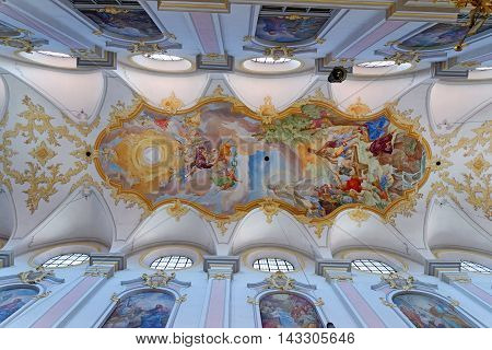 MUNICH GERMANY - AUGUST 3 2015: Interior of St. Peter's Cathedral a Roman Catholic church in the inner city. It is also the oldest church in the district.