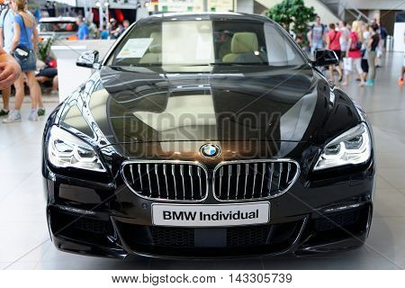 MUNICH GERMANY - 4 AUGUST 2015: BMW 650i Individual presented at BMW World showroom in Munich Germany.