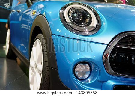 MUNICH GERMANY - 4 AUGUST 2015: The new MINI S with twinpower turbo engine presented at BMW World showroom in Munich Germany.