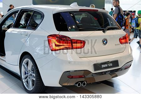 MUNICH GERMANY - 4 AUGUST 2015: BMW 125i at the BMW Welt a customer experience and exhibition facility of the BMW AG Munich Germany