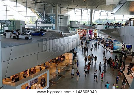 MUNICH GERMANY - 4 AUGUST 2015: Interior Space of BMW Welt a multi-functional customer experience and exhibition facility of the BMW. It is designed by COOP HIMMELB(L)AU.