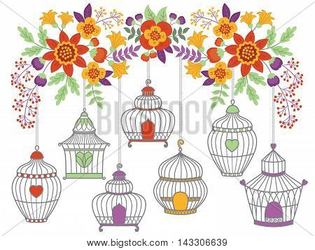 Vector autumn flowers and leaves with bird cages