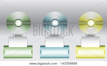Set of three circular diagrams with paper banners on the stand for infographic. Fan metal objects on green, blue and yellow pedestals with arrows