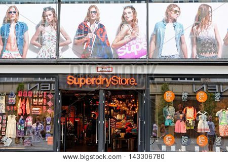 MUNICH GERMANY - AUGUST 4 2015: View at Superdry Store in Munich. It is a British international branded clothing company founded at 1985.