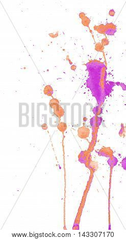 Bright orange and pink purple watercolor splashes and blots on white background. Ink painting. Hand drawn illustration. Abstract watercolor artwork.