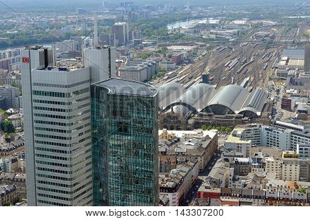FRANKFURT AM MAIN GERMANY - AUGUST 6 2015: Aerial view of Silberturm (Silver Tower) Skyper skyscraper and the Central Station. Frankfurt is the largest financial centre in continental Europe.