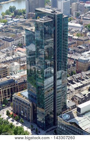 FRANKFURT GERMANY - AUGUST 6 2015: Aerial view of Gallileo tower 136 m high hired by Commerzbank. In the basement is the largest english spoken theatre in Europe.