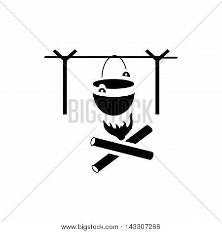 Bonfire with camping pot icon in simple style on a white background