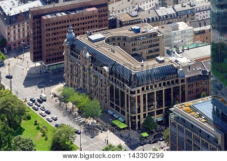 FRANKFURT AM MAUN GERMANY - AUGUST 6 2015: Aerial view of Commerzbank on Gallusanlage street - a leading international commercial bank with branches worldwide.