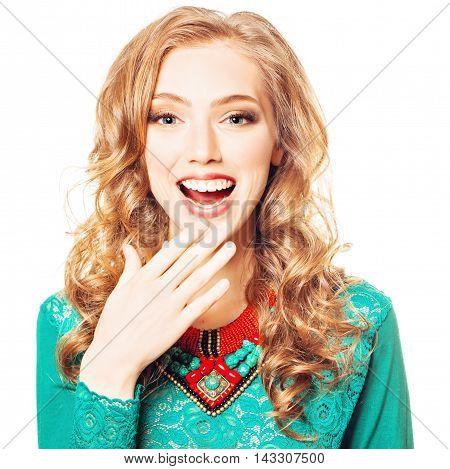 Delight. Surprised Fashion Woman. Surprise concept on white