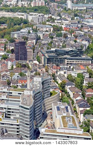 FRANKFURT AM MAIN GERMANY - AUGUST 6 2015: Aerial view of the Frankfurter Welle from the observatory deck of the Mian tower skyscraper. Frankfurt is the largest financial centre in continental Europe.