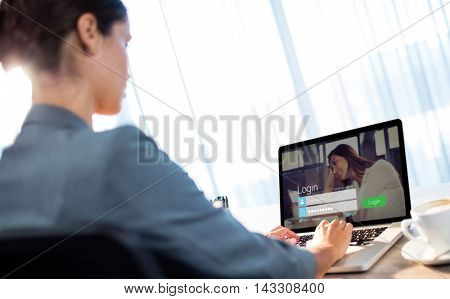 Login screen with dark-haired woman and laptop against businesswoman typing on laptop