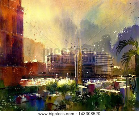 beautiful city skyline view, watercolor style, illustration